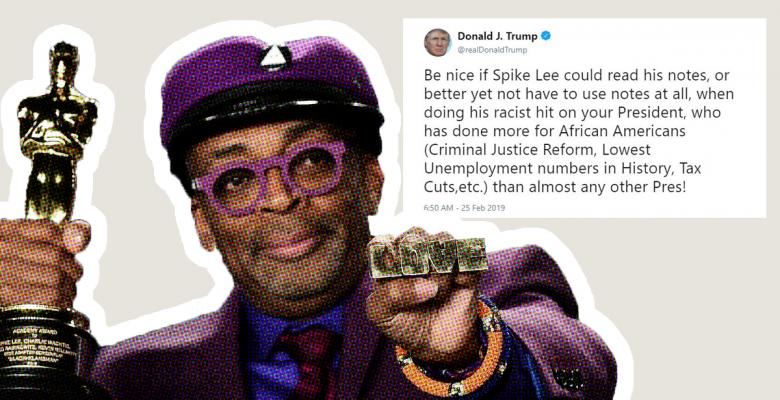 Trump Accuses Spike Lee of 'Racist Hit' at Oscars For Urging People to Vote in 2020