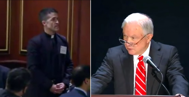 Jeff Sessions Speech Interrupted by Pastor Reading Bible Verses About Immigration