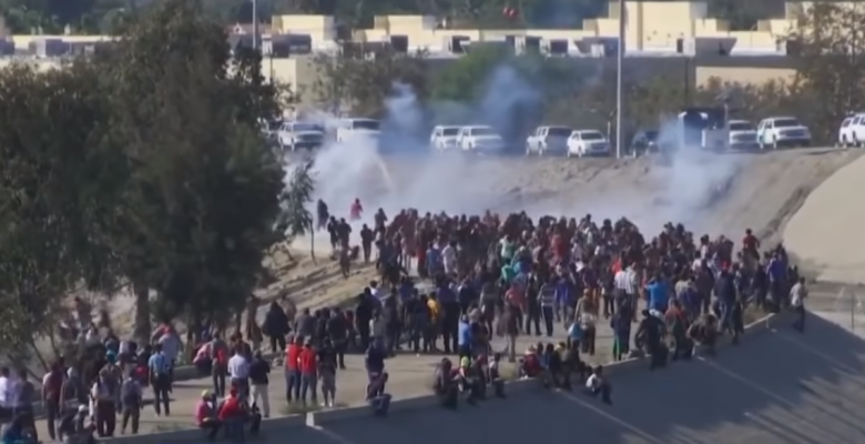 Border Patrol Fires Tear Gas at Migrants at the US-Mexico Border