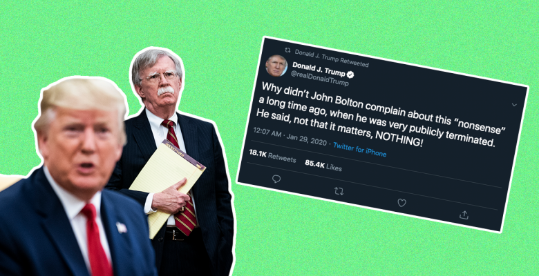Trump Asks Why Bolton Didn't Complain About Ukraine Pressure Earlier, Even Though He Did