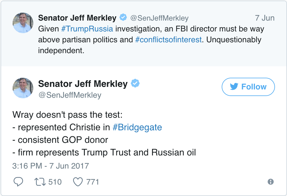 Jeff Merkley Chris Wray Tweet