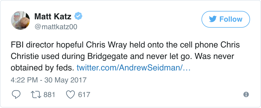 Chris Wray Bridgegate Cell Phone Tweet
