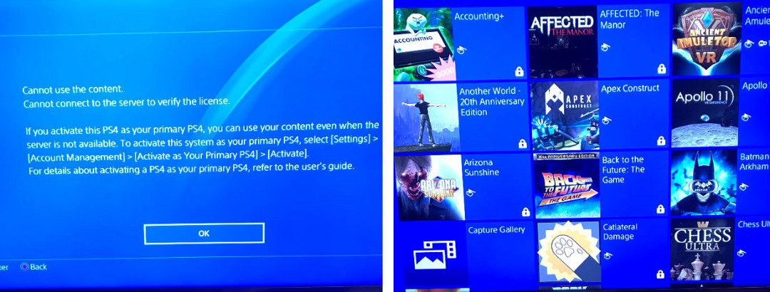 Playstation locked library