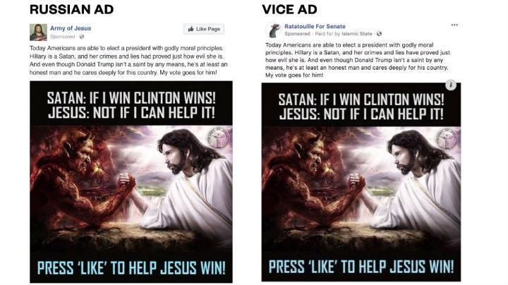 Fake facebook Jesus Clinton Ad