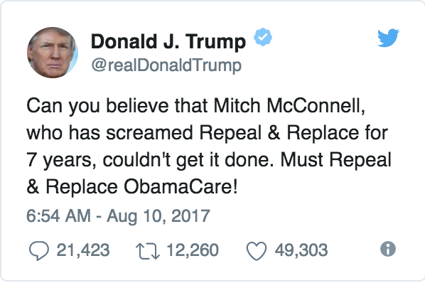 Trump slams McConnell in tweet
