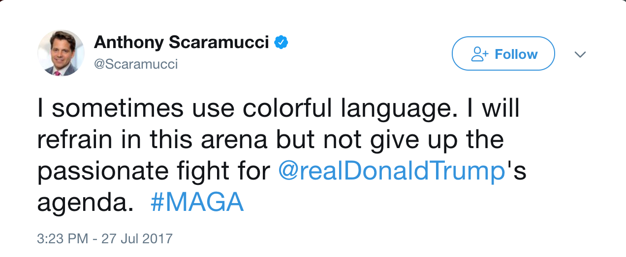 Scaramucci Apology Tweet